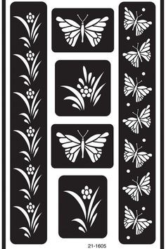 Butterfly Reusable Glass Etching Stencils - x This flexible stencil easily adheres to glass, mirrors, ceramics, metal and other non-porous surfaces. Use sand, glass etching creams or pain Butterfly Stencil, Butterfly Template, Butterfly Flowers, Stencil Patterns, Stencil Designs, Glass Etching Stencils, Sand Glass, Coloring Books, Adult Coloring