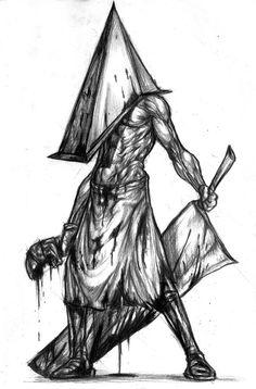 pyramid head from Silent Hill. Back of the thigh Arte Horror, Horror Art, Horror Movies, Pyramid Head, Silent Hill Krankenschwester, Scary Art, Creepy, Monster Hunter, Monster Art