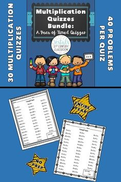 Times Tables Printables include 30 quiz worksheets to use throughout the year. Quizzes are great for memorizing times tables! #vestals21stcenturyclassroom #timestables #timestablesprintables #timestablesactivities #timestablestricks #timestablesmemorizing #learningtimestables #timestablesworksheets #teachingtimestables #timestablesideas