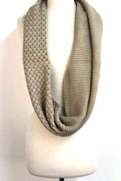 Chunky Knit Infinity Scarf. I like the idea of using two different patterns for one scarf.