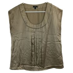 Talbots Women's Size 8 Top Shiny Beige Beaded Neck Center Pleat Silk Blouse S/M #Talbots #Blouse #Career