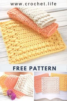 Cottage Square DIY Crochet Dishcloth - Free crochet washcloth pattern by GoldenS. Cottage Square D Crochet Diy, Diy Crochet Dishcloth, Crochet Hot Pads, Crochet Simple, Crochet Home, Beginner Crochet, Crochet Dishcloths Free Patterns, Crochet Kitchen, Quick Crochet