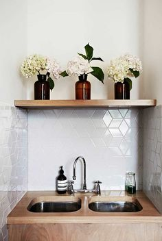 tile in diamonds and rhombus - a great alternative to traditional subway tile