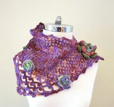 Hand Spun Rose Triangle Lace Scarf Crochet by ValerieBaberDesigns