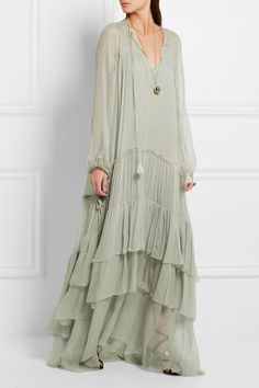 Light-green silk-mousseline Slips on silk Dry clean Made in Italy Hijab Fashion, Boho Fashion, Girl Fashion, Fashion Dresses, Womens Fashion, Fashion Design, Chloe Fashion, Trendy Dresses, Casual Dresses