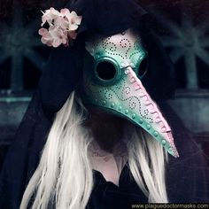 Female plague doctor mask, handmade plague doctor mask for women. Decorated with a swirly hole design, and painted in pearlescent white, pink and green Black Plague Mask, Plague Doctor Mask, Plague Dr, Doctor Halloween, Halloween Queen, Halloween 2020, Plauge Doctor, Doctor Stuff, Doctor Tattoo