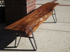 Long Dining Table Bench Live Edge Solid Wood Slab by WoodwavesInc, $1195.00