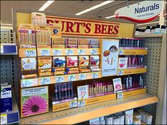 Burts Bees Point of Purchase Brand Building in Yellow Store Counter, Point Of Purchase, Brand Building, Burts Bees, Pos, Logo Branding, Over The Years, Professor, Shelf