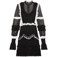 Gucci Sheer Knit Dress (125.485 ARS) ❤ liked on Polyvore featuring dresses, gucci, ready-to-wear, women, sheer dress, sheer cocktail dress, ruffle dress, white knit dress and white ruffle dress
