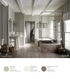 Transform any bathroom into your personal retreat. Pair a green-gray, like Gray Mirage 2142-50 with a creamy neutral such as Moonlight White 2143-60 in Aura Bath & Spa to create a soothing and classic effect.