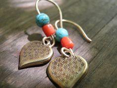 Dangle EarringsTurquoise Coral Delicate Brass by AnnalisJewelry, $28.00