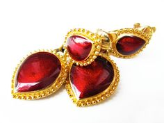 Vintage Trifari Ruby Red Gold Earrings  Boucles by MyChouchou, $18.00