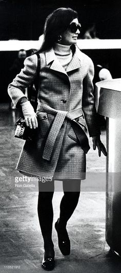 Jackie Kennedy Onassis during Jackie Onassis and Caroline Kennedy Arriving at Their 5th Ave. Apartment From JFK Airport at Kennedy's 5th Ave. Apartment in New York City, New York, United States.