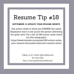 Good Resume Verbs Impressive Resume Writing Tips For September Update Your Resume Monthresume .