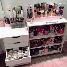 ideas makeup organization diy vanity make up for 2019 Bathroom Makeup Storage, Makeup Drawer Organization, Diy Makeup Vanity, Diy Makeup Storage, Makeup Geek, Make Up Storage, Storage Ideas, Makeup Kit, Makeup Products