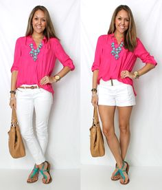 Camisa pink + calça (ou saia) branca + colar turquesa + sandália turquesa + bolsa caramelo