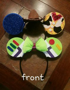 Toy Story Buzz and Woody Mickey ears for our Disneyland Run.