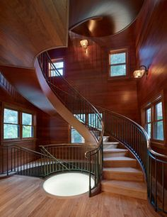 Interior of an old water tower added onto a home.