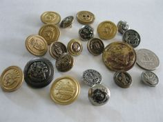 Lot of 21 Metal Antique Vintage to Now Buttons Military Regal Royal Assortment