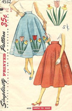 1950s ROCKABILLY Full SKIRT with Tulips Daffodils TRANSFER for Embroidery and Applique ~ Vintage sewing pattern Waist Size 26  Simple to Sew on Etsy, $13.50