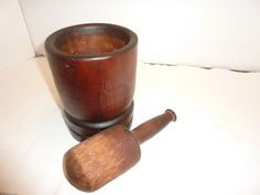 Antique or Primitive Wooden Mortar and Pestle