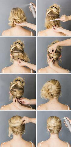 Easy short hair updo tutorial                                                                                                                                                     More