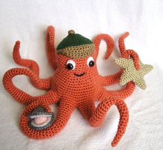 Amigurumi of the Sea Patterns Treasury Crochet Amigurumi, Amigurumi Patterns, Crochet Dolls, Knit Crochet, Crochet Patterns, Free Crochet, Crochet Sea Creatures, Crochet Animals, Octopus Crochet Pattern