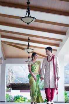 this for your wedding inspirations. Traditional Silk Saree, Kanchipuram Saree, Indian Bridal Wear, South Indian Bride, Beautiful Saree, Couple Portraits, Couple Shoot, Wedding Photoshoot, Wedding Wear