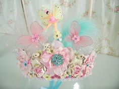 Pink and Aqua Poodle Ballerina Crown.  Adorable!