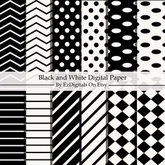 Black and White Digital Paper, Printable Paper, Digital Download, Scrapbook Paper, Craft Paper, by EzDigitals on Etsy