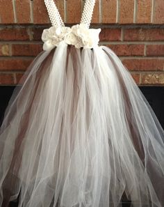 Beautiful Brown and Ivory Tulle Flower Girl Dress with ivory slip  on Etsy, $70.00