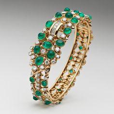 Cartier de oro, diamante y esmeralda brazalete, alrededor de 1958.