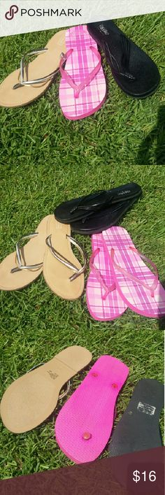 Lot of 3 flip flops Three pair of flip flops. Minimal signs of wear. Pint flip flops lost some color on heel as shown. All are size 10. Some scratches and wear noted to bottom of shoes. Black are mossimo, tan with silver gold and brown straps are Merona. Pink is off brand. Shoes Flats & Loafers