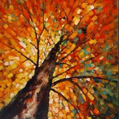 Autumn Rising - Contemporary / Abstract - Mercana Art Decor & Home Furnishings by VenusV Autumn Painting, Autumn Art, Fall Paintings, Tree Paintings, Simple Paintings On Canvas, Autumn Leaves, Abstract Tree Painting, Abstract Art, Painting Trees