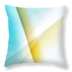 Timeless Geometric Abstract throw pillow by Jenny Rainbow. Blue - yellow - white geometric abstract for home decor. Designer Pillow, Pillow Design, Floor Pillows, Bed Pillows, Buy Art Online, Pillow Sale, Poplin Fabric, Blue Yellow, Home Art