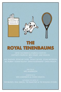 The Royal Tenenbaums ~ Minimal Movie Poster by Kate MacGuffin ~ Wes Anderson Series Minimal Movie Posters, Cinema Posters, Film Posters, Movie Theater Showtimes, Wes Anderson Movies, Danny Glover, The Royal Tenenbaums, Ben Stiller, Owen Wilson