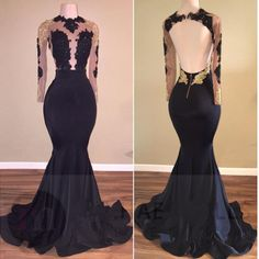 Mermaid Black Lace Sexy Gold Long Sleeve Prom Dress