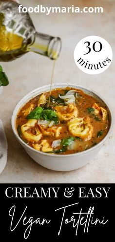 It doesn't get much better than this incredible tortellini soup. It's a family favorite recipe and is super easy. Healthy Soup Recipes, Vegan Dinner Recipes, Delicious Vegan Recipes, Vegan Dinners, Lunch Recipes, Pasta Recipes, Italian Recipes, Vegan Tortellini, Tortellini Soup