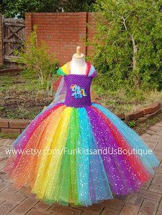 Sparkly Pony Dress - Rainbow Tutu Inspired Pony costume Full length - Rainbow Birthday party, Tea party, size nb to 9 Year Old Girl Birthday, Ladybug Costume, Rainbow Tutu, My Little Pony Party, Rainbow Birthday Party, Rainbows, Girl Outfits, Ocean, Costumes