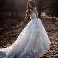 @tali__photography Dresses by @berta #MusebyBerta #bridesbytali #vakkowedding #bridal Gypsy Wedding Gowns, Ethereal Wedding Dress, Floral Wedding Gown, Country Wedding Dresses, Backless Wedding, Best Wedding Dresses, Wedding Dress For Short Women, Bridesmaid Dresses, Fall Wedding Gowns