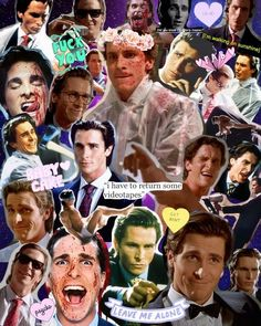 american psycho, christian bale, and Collage image Psycho Wallpaper, Best Puns, American Psycho, American Actors, Collage Book, Arte Horror, Film Serie, Halloween Horror, Cute Wallpapers