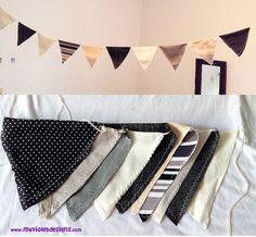 Guirnalda de banderines en colores negro, gris y crudo :D myvioletdesigns.com