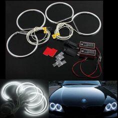 4pcs LED CCFL Angel Eyes Halo Rings Lights Xenon White For BMW E36 E39 E46