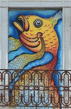 Sesimbra é peixe.Arte na rua. Sara Trindade