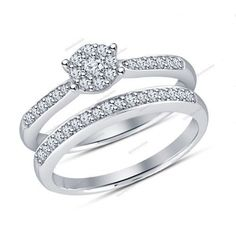 Round 5/9 CTW D/VVS1 Diamond Flower Style Bridal Ring Set In White Gold Finish…