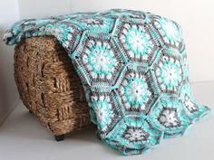 Afghan- Handmade Snowflake Hexagon Crochet Blanket - Aqua, Grey, and White…