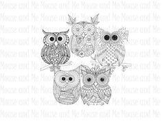5 Owl Digital Stamps, Printable Adult Colouring Downloads