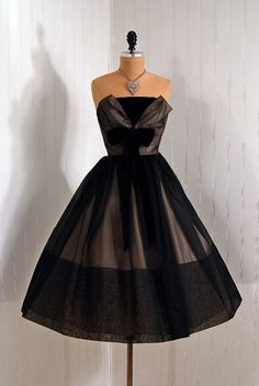 1950s Black Chiffon Evening Dress