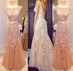 Sexy Boat Neck A Line With Appliques Floor Length Tulle Evening Dresses Prom Dresses Party Dresses Women Dresses
