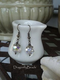 Crystal Earrings Vintage Style Earrings Antique Brass by DflyBeads